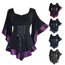 Женские топы, туника, длинная готическая одежда в стиле панк, хип-хоп, женская блузка, новинка, большие размеры, черный костюм