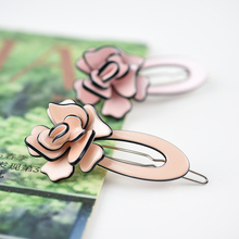 Little Girls or Ladies Assorted Color Rose Acrylic  Mini Hair Clip Pin 6.0cm Free shiping on orders over 10 dollars