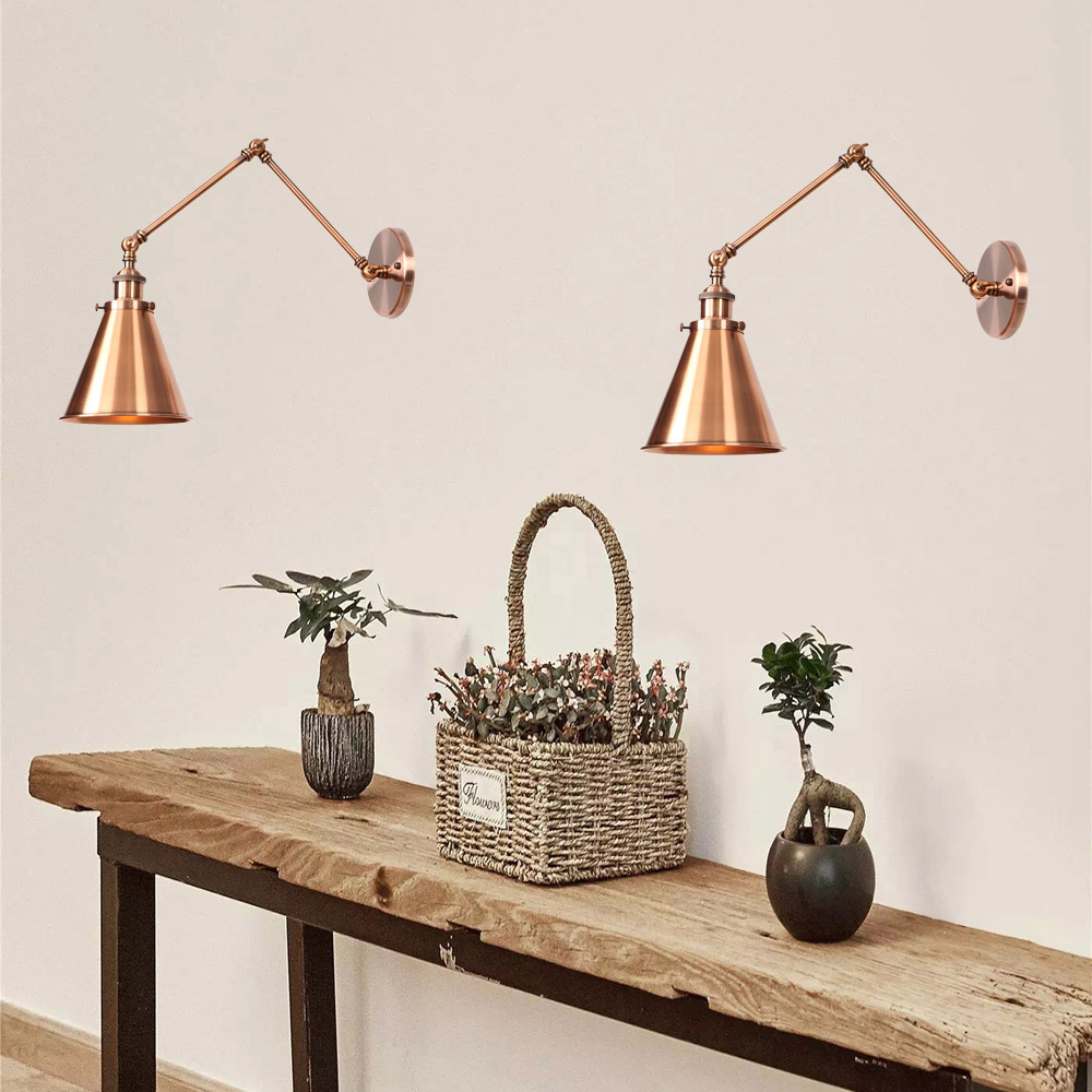 Antique Adjustable Wall Lamp Sconce Iron Loft Retro Wandlamp Bedroom Indoor Led Beside Lamp Industrial Wall Lights Black Copper