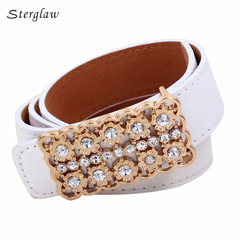 Diamond hollow flowers   belt   for women 2019 designer   belts   men high quality female   belt   cinturones mujer pedreria sterglaw Y214