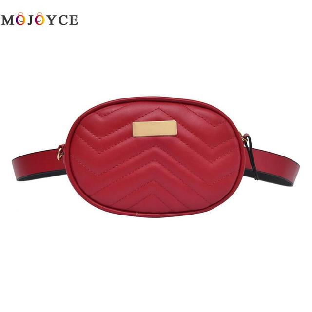 Luxury Brand Designer Women Fanny Pack Female PU Leather Zipper Oval Waist Bag Pouch Ladies Belt Bag 2 Ways With Chain Strap