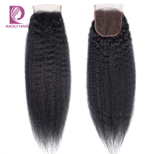 Image 1 - Racily שיער 4x4 ברזילאי קינקי ישר סגירת רמי שיער טבעי תחרה שוויצרית סגירת צבע טבעי משלוח/אמצע/ שלושה חלק סגירה