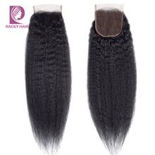 Racily Haar 4x4 Braziliaanse Kinky Recht Sluiting Remy Human Hair Zwitserse Kant Sluiting Natuurlijke Kleur Gratis/Midden /drie Deel Sluiting