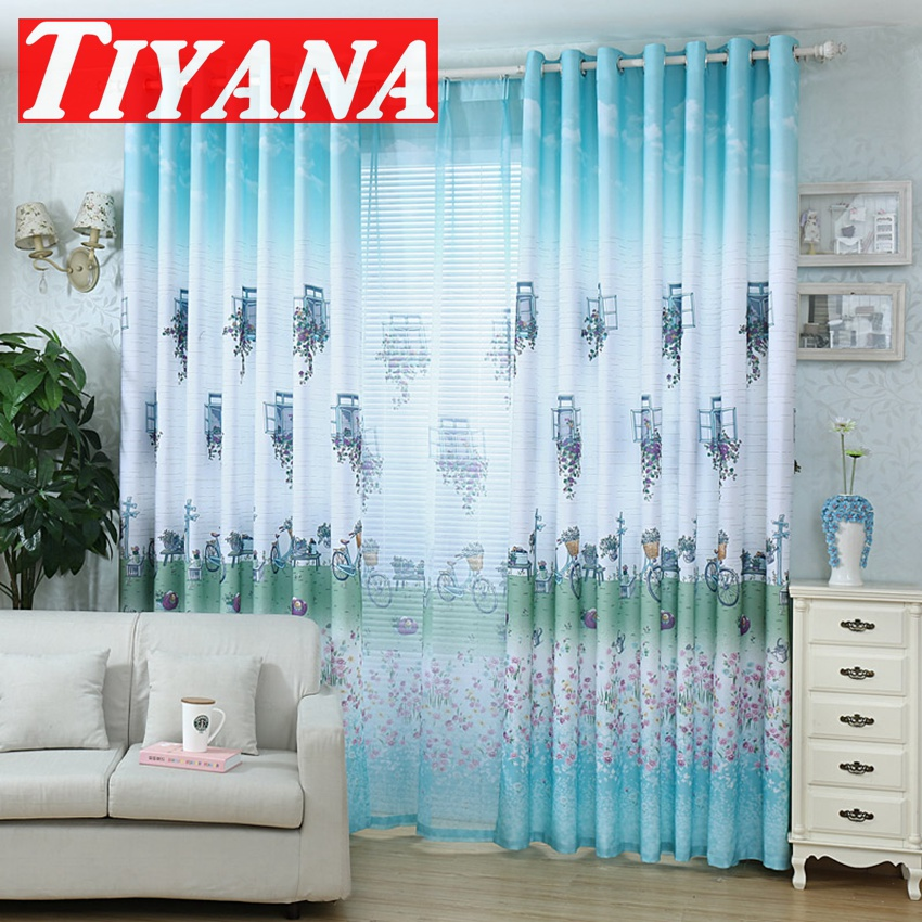 Purple Floral Bicycle Pattern Country Rustic Curtains Drapes Living Room  Curtains Semi Blackout Curtains Blue
