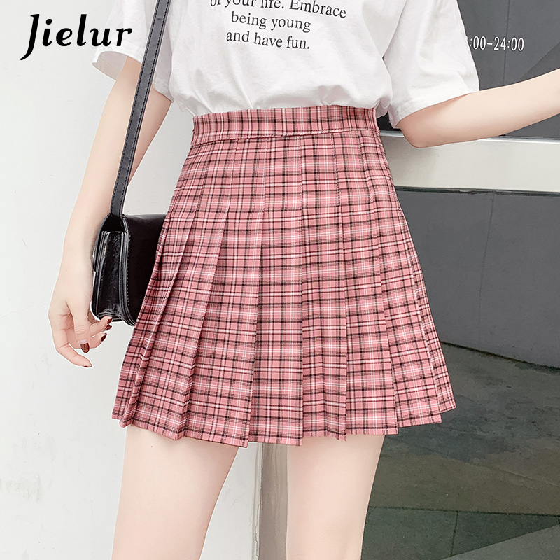 19676b13dbfb Jielur Plaid Sweet Pleated Skirt Female A line Sexy Red Apricot Khaki Skirts  Chic Preppy Style Summer High Waist Women Bottoms-in Skirts from Women's ...