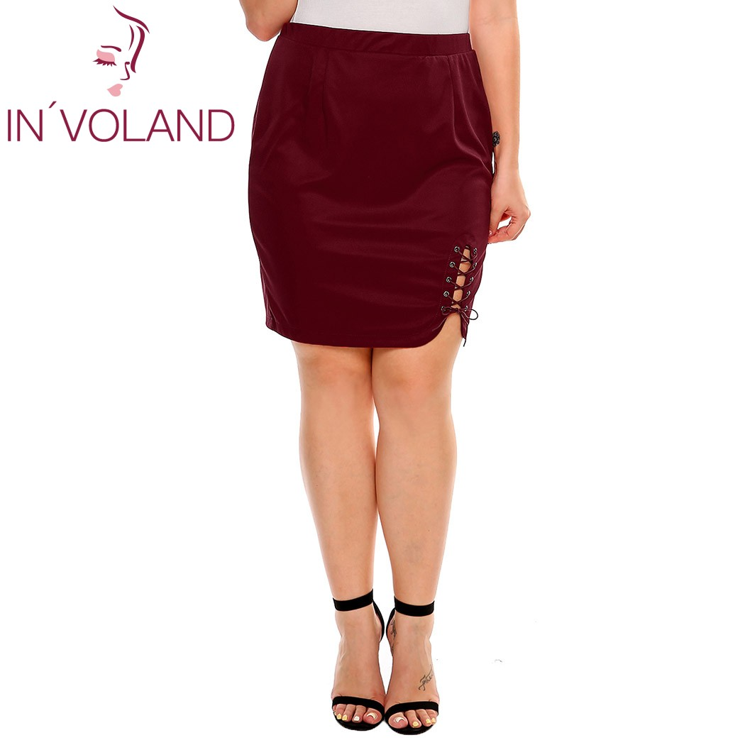 IN'VOLAND női rövid szoknya nyár plusz méretű szilárd krisztus - Női ruházat - Fénykép 4
