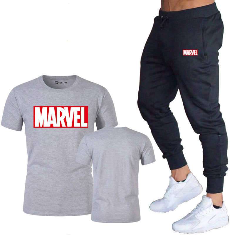 HTB1aFwrJ3DqK1RjSZSyq6yxEVXa6 New summer hot brand sale men's MARVEL suit T shirt + pants two piece casual sportswear printing shirts gym fitness pants 2019