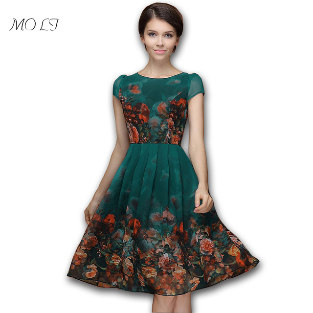 New Summer style2016 temperament participants green chiffon printed long  casual dress plus size short sleeve party 2413ac38c3e7