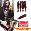7A Mink Brazilian Straight Hair With Closure Wine Red Bundles With Closure 99J Burgundy Straight Weave With Closure 5 Pcs Lot