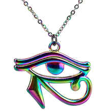 20 Rainbow Color Egyptian Eye of Horus Ra Amulet Pendant Charms Necklace Beauty Gift
