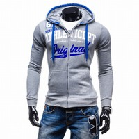 2017 Hoodies Men Sudaderas Hombre Hip Hop Mens Brand Letter Hooded Zipper Hoodie Sweatshirt Suit Slim