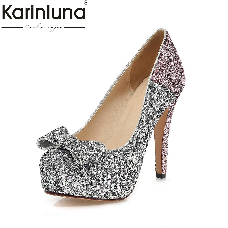 KARINLUNA 2017 Large Size 34-43 Round Toe Platform Women Shoes Woman Sexy Bowtie Bling Thin High Heels Party Wedding Pumps ultra thin heels 20cm platform open toe print women s shoes plus size sexy 43 tiangao 42 34