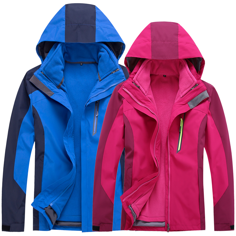 все цены на  Men and women triple Two-piece suit Thickening Fleece waterproof Breathable Mountaineering clothing Outdoor Jackets  онлайн