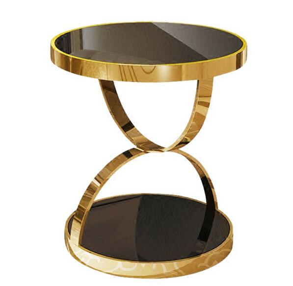.Stainless steel gold round a few. Phone gold plated tempered glass sofa a few light luxury casual coffee table.