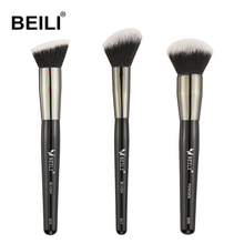 BEILI Black Small brush kit Vegan Black Powder Blush foundation Synthetic Hair Makeup Brushes Cruelty Free