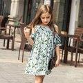 Девушки Платья 2016 Летние детские Шифон цветок зеленый платье бренда детская причинные Одежда Милые Девушки Платья Партии Праздника