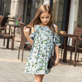 Girls Dresses 2016 Summer kids' Chiffon flower green dress brand Children's causal Clothes Lovely  Girls Dresses Holiday Party