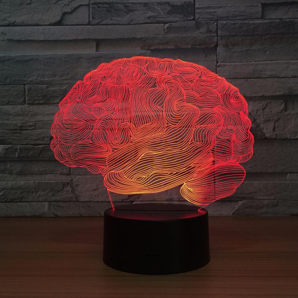 Brain Carebellum USB Novelty Light 3D Optical Illusion Lamp 7 Color Changing Nightlight Touch Desk Table Light Home Office Decor novelty 3d full moon lamp led night light usb rechargeable color changing desk table light home decor 8 10 12 15 18 20cm