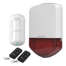 Wolf-Guard Wireless Outdoor Alarm Siren as Home Security System with 1 PIR Detection Sensor 2 Remote Control 110dB