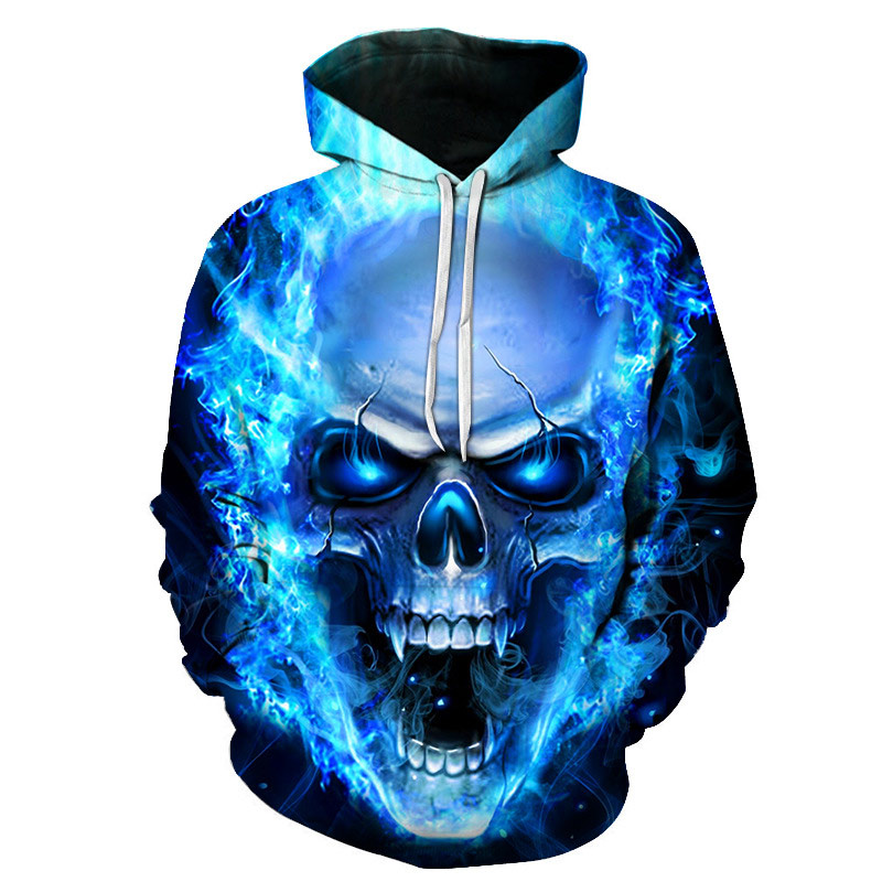 Hoodie Animal Sportswear Skeleton 3d-Printing Fade Casual Don't Flame-Brilliant Blue