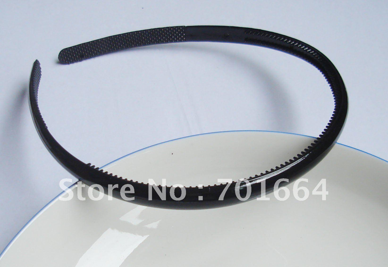 10 шт. 8 мм Гладкие Черные блестящие черные пластиковые повязки для волос с зубами внутри, оптом