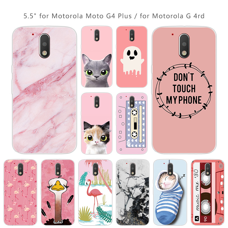 5.5 Inch For Motorola Moto G4 Plus Phone Cases TPU Transparent Silicon Soft Phone Pink Cover For Moto G4 / G4 Plus Coque