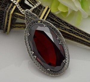 Image 3 - Серебряный кулон Szjinao для женщин, красный гранат, свадебный подарок для гостей, Настоящее серебро 925 пробы, Овальный драгоценный камень, Роскошные ювелирные украшения