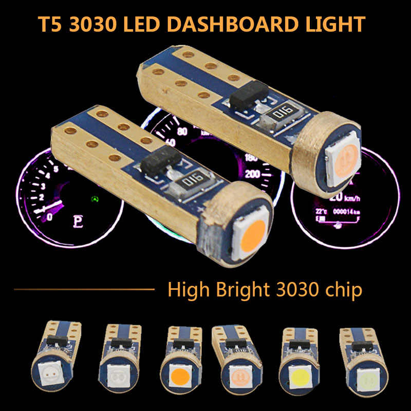 10pcs T5 LED W3W W1.2W Car Interior 1 SMD DC 12V Super bright 3030 LED Car Dashboard warming indicator Auto Instrument Lamp