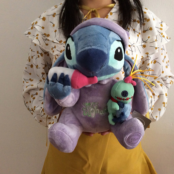 Free shipping Lilo And Stitch Plush Toys Sitting height 28cm baby's bottle Stitch Stuffed Animal Soft kids Doll for gift