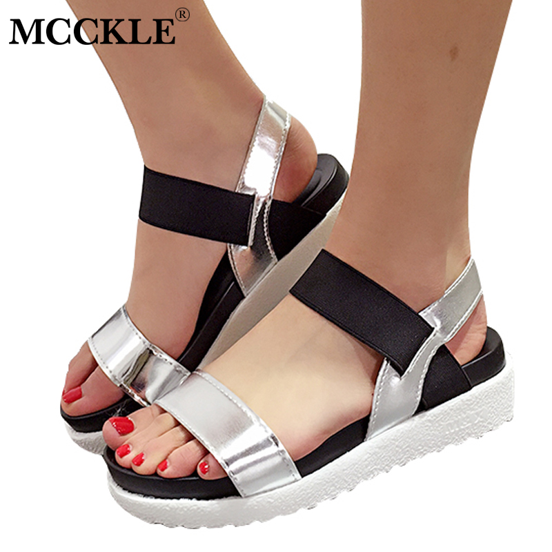 MCCKLE Women Summer Casual Flat Platform Sandals Female Ankle Wrap Elastic Band Shoes For Girls Woman Comfortable Footwear women s shoes 2017 summer new fashion footwear women s air network flat shoes breathable comfortable casual shoes jdt103