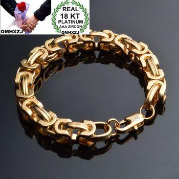 OMHXZJ Wholesale Personality Fashion Man Party Wedding Gift Gold 9mm Thick Chain 18KT Bracelet+Necklace Jewelry Set SE45