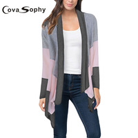 Cova Sophy 2017 Autumn Winter Women Fashion Sweaters Casual Loose Patchwork Thin Long Sleeve Cardigans Sweater