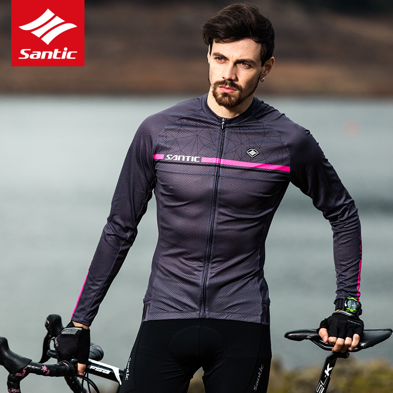 Santic Cycling Jersey Long Sleeve Men Mountain Road Bike Jersey Breathable Quick-dry Bicycle Jersey Clothing Maillot Ciclismo santic cycling jersey kit long sleeve warm bicycle bike clothes outdoor sports quick dry seamless thermal underwear skinsuit