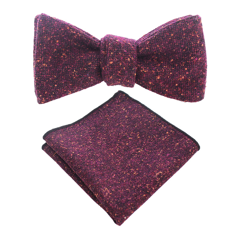 4ef33b83aa5c GUSLESON Wool Self Tie Bow Tie And Handkerchief Set Mens Quality Cashmere  Bowtie Hanky Pocket Square Suit Wedding Party
