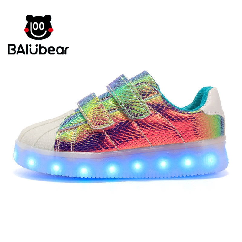2017 NEW Toddler Fashion Children Shoes With Light Led Kids Shoes Luminous Glowing Sneakers Baby Boys Girls LED Shoes EU 21-25