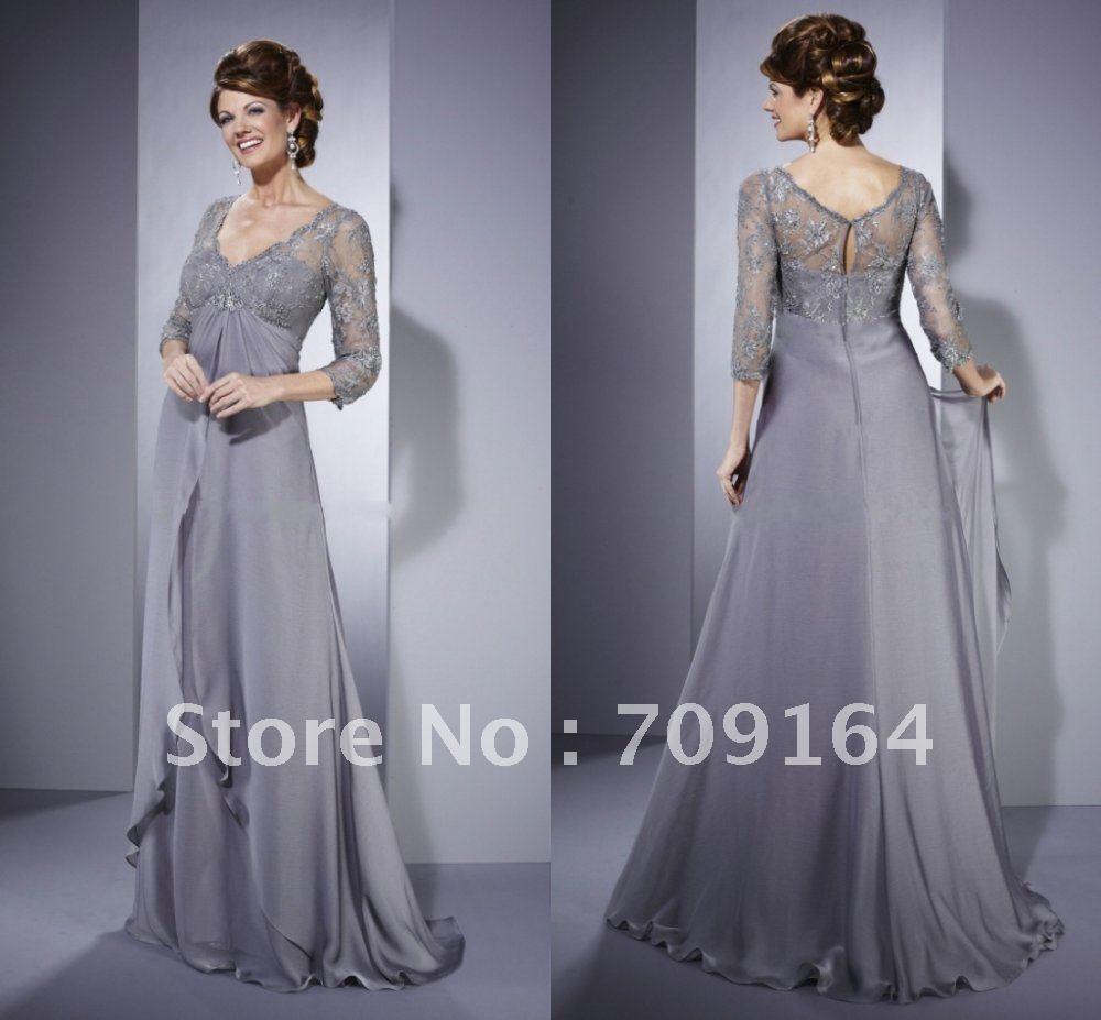 Gray Chiffon Dress W Sleeves