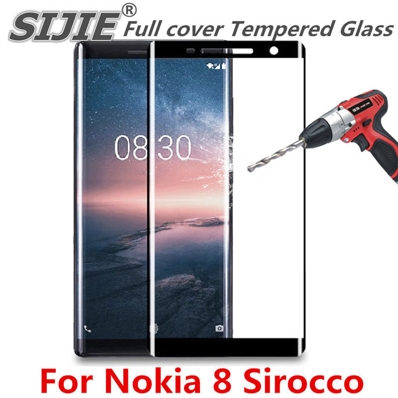 Full cover Tempered Glass For Nokia 8 Sirocco screen protective case 9H toughened black frame edges on smartphone case friendlyFull cover Tempered Glass For Nokia 8 Sirocco screen protective case 9H toughened black frame edges on smartphone case friendly