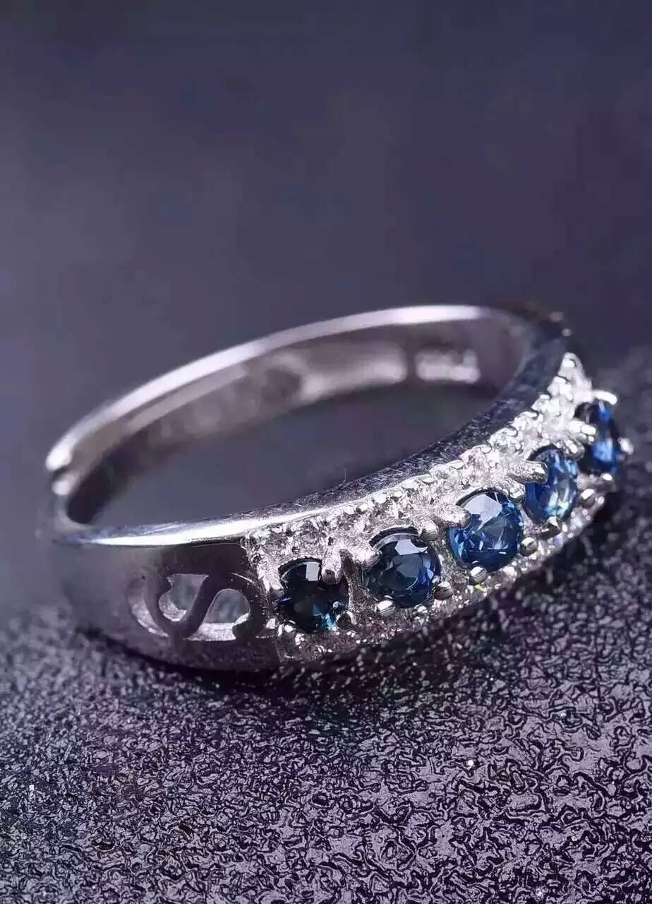 Natural blue sapphire gem Ring Natural gemstone ring S925 sterling silver trendy luxurious array women girl wedding gift Jewelry