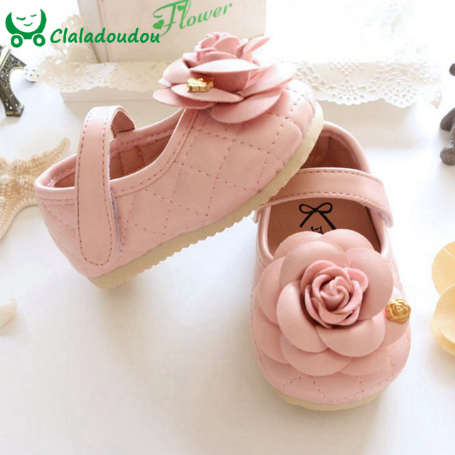 Girl Baby Shoes With Three-dimensional Flower Pink Cute Baby Girl Shoes For 0-5 Years Old Kids Girls Insole 11-15CM 721