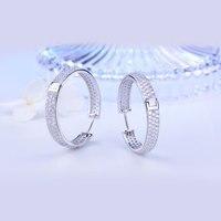 Korean fashion crystal circle earrings for women girl rhinestone hoop fine jewelry popular simple 925 sterling silver accessorie