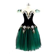 Free Shipping Black Green Gold Romantic Ballet Tutu Long Dress Raymanda Girls Ballerina Professional Performance Stage Costume