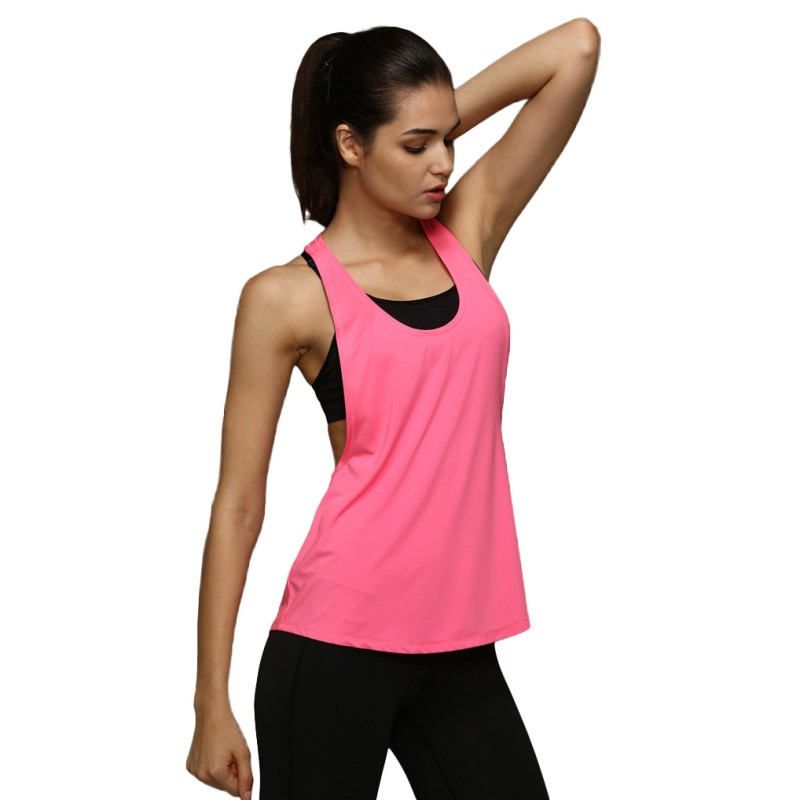 Summer Women Tank Tops Dry Quick Yoga Shirts Loose Gym Fitness Sport Sleeveless Vest Singlet for Running Training Outdoor