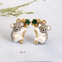 Fashion koala Hand Painted Enamel Glaze Green Crystal Hot Sale Stud Earring For Women Animal Jewelry