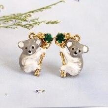 Fashion koala Hand Painted Enamel Glaze Green Crystal Hot Sale Stud Earring For Women Animal Jewelry