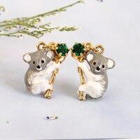 LES Nereides Mode koala Handgeschilderde Emaille Glazuur Groen Crystal Hot Verkoop Oorbel Voor Vrouwen Dier Sieraden