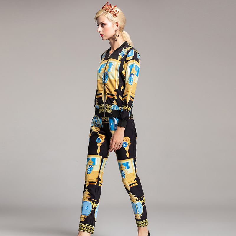 Long Printemps 2018 Ensemble De Color Zipper Mode Piste Femmes Eté Designer Top Picture Nouveau Costumes Imprimé Vintage Pantalon SEZO4nO