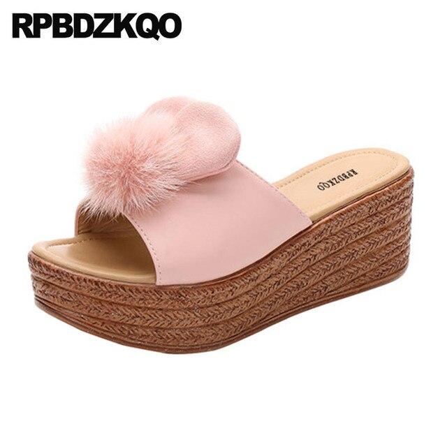 flatform slides ladies pom pink women high heels cute pumps cheap