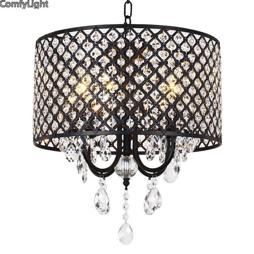 현대 크리스탈 철 펜 던 트 라이트 케이지 전등 갓 펜 던 트 램프 부엌 매달려 전등 lustre de led 천장 조명
