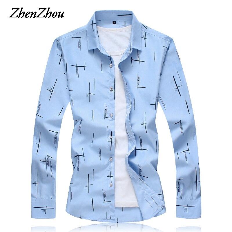 2019 New Autumn Long Sleeve Shirt Men Slim Fit Print Mens Dress Shirt Casual Male Social Shirt M-6XL 7XL Chemises Pour Homme