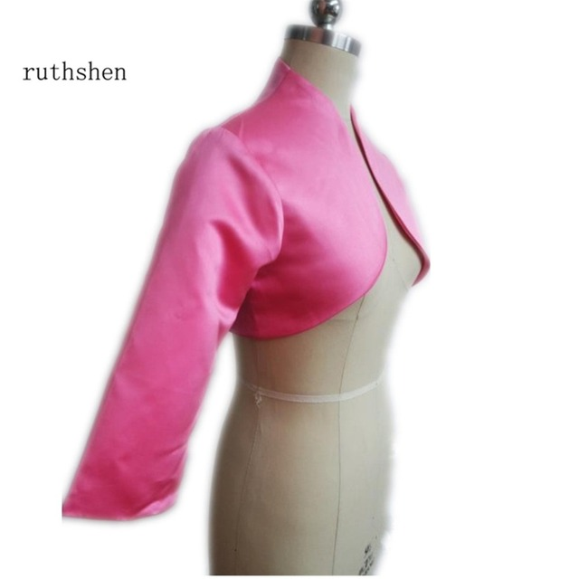 Ruthshen Amazing Pink Women Jacket 3 4 Sleeves Satin Wedding Wraps Bride Accessories Custom
